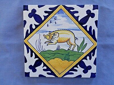 Vintage DELFT WESTRAVEN DUTCH ANIMAL TILE  Pig