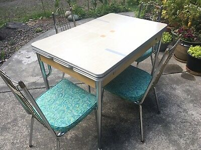 Vintage Formica Table Chrome and Cream Colored