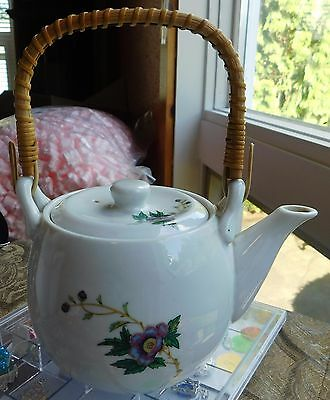 Teapot Takahashi White Floral Flowers Japanese Style Hand Wrapped Wood Handle