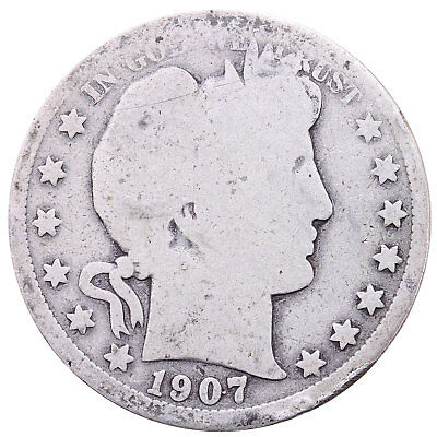 1907 D Barber Half Dollar 90% Silver About Good