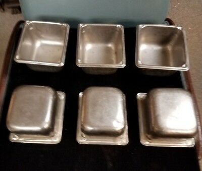 """Qty 6,  1/6 th SIZE STAINLESS STEEL STEAM TABLE PAN 4"""" DEEP"""