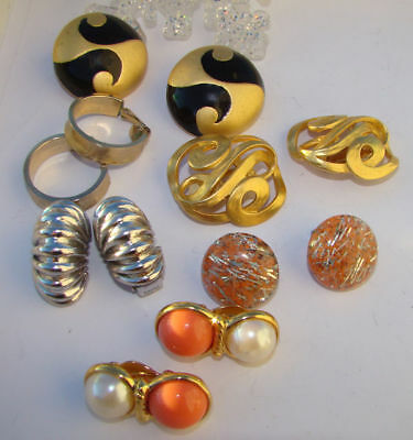 Vintage Lot Of 6  Pairs Clip On's Earrings Rhinestone,faux Pearl,confetti