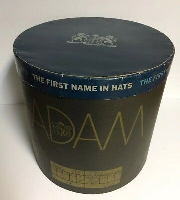 "Vtg LARGE Black Oval Cardboard Hat Box ~ ADAM ~""The First Name in Hats"""