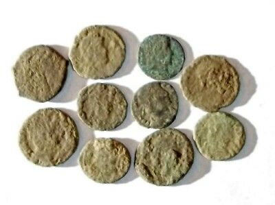 10 ANCIENT ROMAN COINS AE3 - Uncleaned and As Found! - Unique Lot 30001
