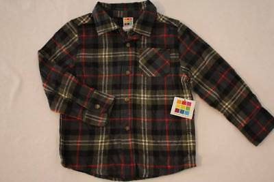 NEW Toddler Boys Button Down Flannel Shirt Size 4T Green Plaid Long Sleeve Top