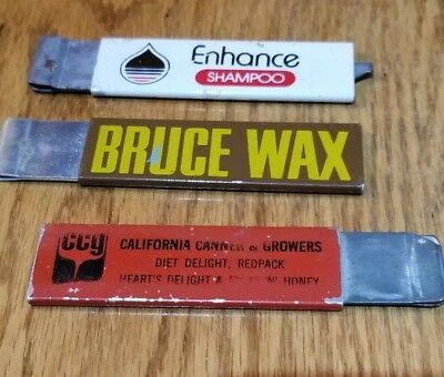 3 Vintage Advertising Box Cutters - ENHANCE SHAMPOO,  BRUCE WAX & CALIF. CANNERS