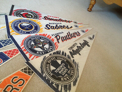 "Lot Of 16 Vintage Nhl 30"" Pennants Individually Wrapped, Shipped Flat"