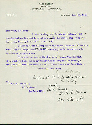 Cass Gilbert SIGNED AUTOGRAPHED Letter - Skyscraper Woolworth Building Architect
