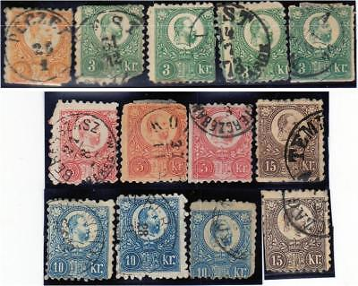 13 HUNGARY 1871-1874 Engraved stamps - Space fillers.