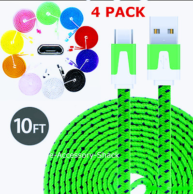 4 PACK 10FT Flat Braided Fast Charge Micro USB Cable Rapid Cord Quick Charger