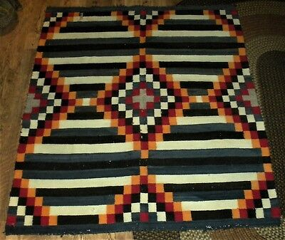 ANTIQUE c.1910 NAVAJO 3RD PHASE CHIEFS RUG / WEARING BLANKET GREAT BLUE RED vafo