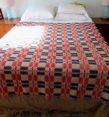 19th Century Jacquard Overshot Coverlet Bedspread Quilt Woven Antique Bed Cover