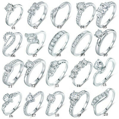 Fashion Brilliant Ladies Bridal White Sapphire Crystal Silver Gold Filled Rings