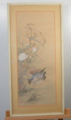 Vintage Chinese Watercolor Painting On Silk Of Birds Signed Framed and Matted