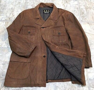 Barbour Suede Leather Outdoor Blazer Quilted Field Jacket Copper Brown XXL