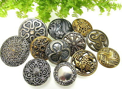 Gorgeous Lot Of Vintage Metal Twinkle Type Buttons With Ornate Designs H28