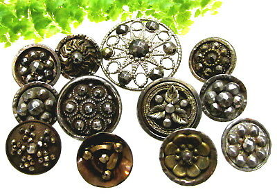 Sparkly Lot Of Victorian Cut Steel Buttons H57