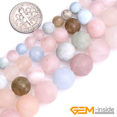 """Natural Gemstone Multi-Color Morganite Unpolished Matte Frost Round Beads 15"""" YB"""