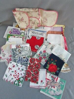 Vintage HANDKERCHIEFS HANKIES Christmas Floral Cowboy Stagecoach – Lot of 31