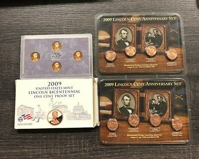 Collectors Lot 2009 Lincoln Bicentennial One Cent Coin Sets Proof & Unc