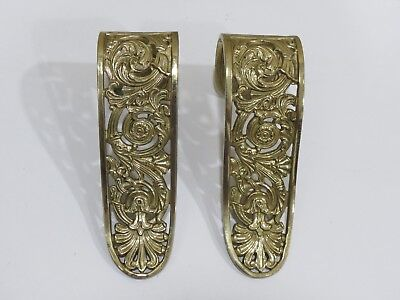Pair of Antique Vintage Ottavia German Cast Brass Curtain Drapery Tie Hold Backs