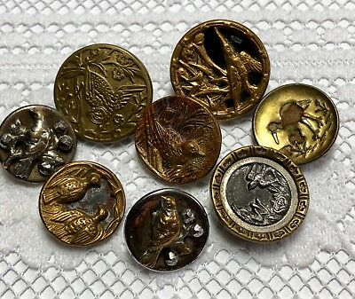 Bird Theme - 8 Assorted Victorian Metal Picture Buttons