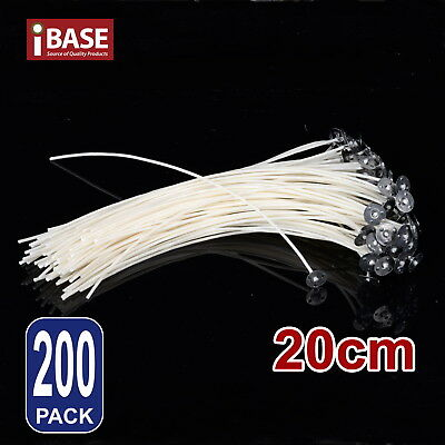 200x Candle Wicks Pre Waxed Tabs Low Smoke Wick Sustainers Cotton Core Holder