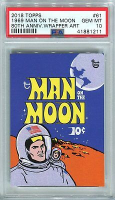 2018 Topps 80th Anniversary Wrapper Art #61 1969 Man on the Moon /236 ~ PSA 10