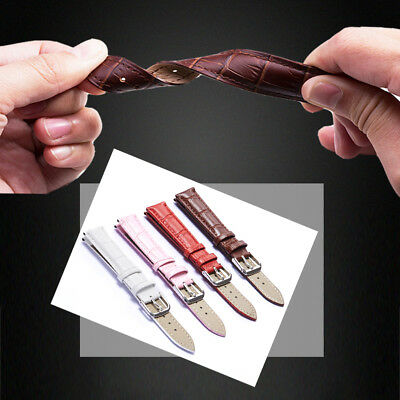 12-24mm Genuine Leather 6 Colors Wristwatch Watch Strap Band Womens Mens Unisex