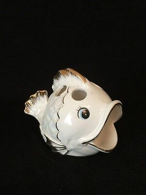 Vintage Ceramic Fish Toothbrush Holder White Iridescent Gold Accent Bathroom MCM