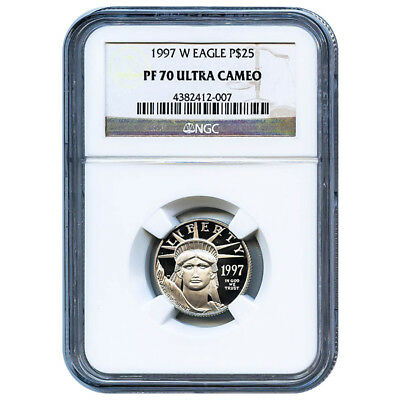 Certified Platinum American Eagle Proof 1997-W Quarter Ounce PF70 NGC