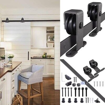 1.83m Sliding Barn Door Hardware Set Track Rail Interior Closet No Joint Black