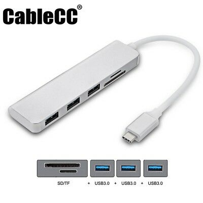 Cablecc USB-C Type-C to 3 Ports Hub With SD TF Card Reader for Laptop & Phone