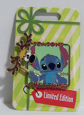 Disney Parks 2018 Season Greetings Pin Stitch Reindeer LE 5000 Limited Edition
