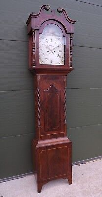 Antique Victorian Long-Case 8-Day Grandfather Clock in a Decorative Mahogany Cas
