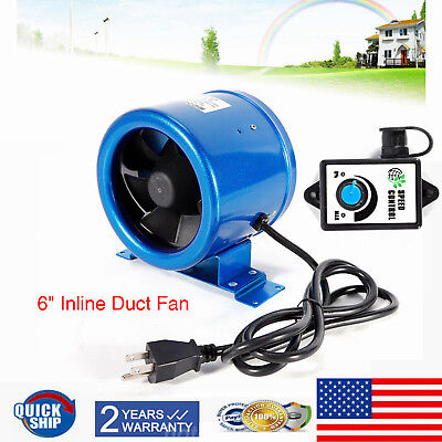"6"" Inch Inline Duct Exhaust Fan High-Speed Air Blower Hydroponics Cooling Vent"