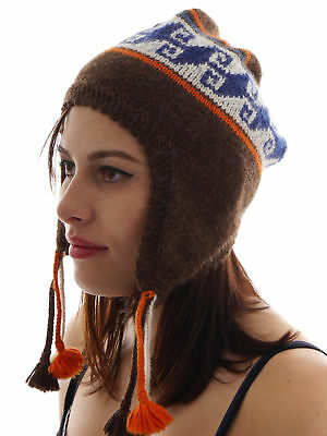 Maloja Knitted Cap Lluchom. Brown Cord Pompom Hand Made