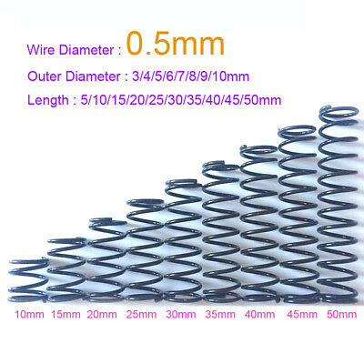 0.5mm Wire Dia. x 3 -10mm Outer Dia. x 5 - 50mm Length Spring Steel Small Spring