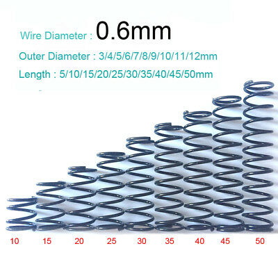 Pressure Springs 3mm to 12mm Outer Diameter x 0.6mm Wire Diamter Various Length