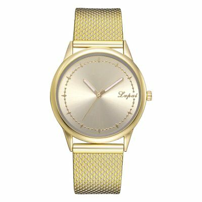 Unisex Women Ladies Watch Gold Silver Stainless Steel Mesh Band Wrist RB