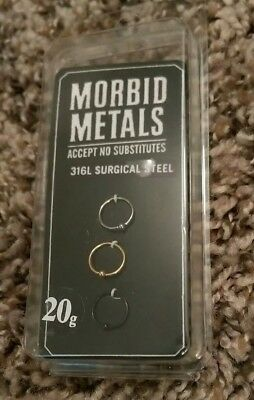 Hot Topic 3 Pack Morbid Metals 20g 8 mm Surgical Steel Nose Cartilage Ear Hoops