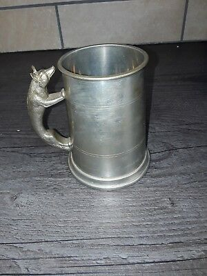 Sheffield English Pewter England Fox Handled Tankard NO Engraving
