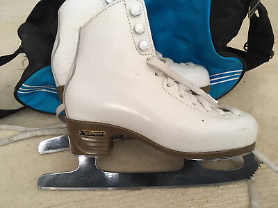 Childrens ice skates, white, Risport, blade size 225, with bag!