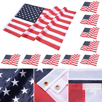 10Pcs 3x5FT American Flag Embroidered Stars 210D Oxford Sewn Stripes Grommets