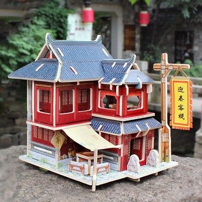 3D Jigsaw Wood Miniature 1/24 DIY Doll House Kit Furniture Model Chinese Inn
