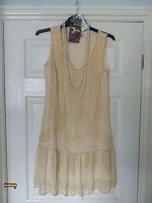 Beautiful Beaded 1920s Gatsby Style Dress size 10/12 with accessories