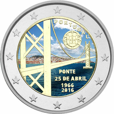 2 Euro Portugal 2016 ''Brücke des 25. April'' - coloriert