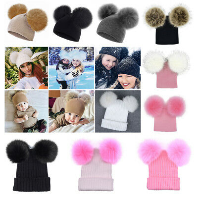 Newborn Kids Baby Boy Girl Double Fur Pom Hat Winter Warm Knit Bobble Beanie Cap