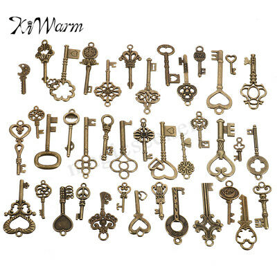 40Pcs/Set Antique Vintage Bronze Old Look Bronze Skeleton Keys Heart Bow Pendant