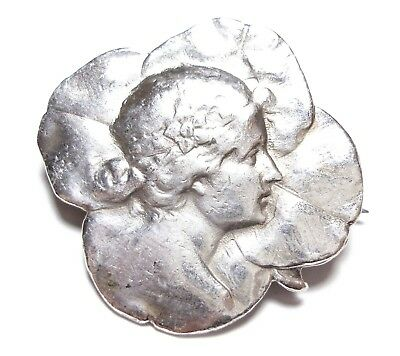 Beautiful Old Antique Edwardian Art Nouveau French Silver Brooch Pin (A28)